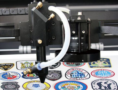How does the embroidery machine laser cutting system cut the patch
